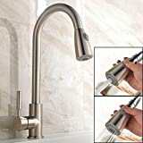 UFaucet Modern Stainless Steel Single Handle Pull Down Spray Kitchen Sink Faucet, Pull Out Brushed Nickel Faucets