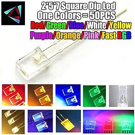 50pcs 2x5x7mm Rectangle White Red LED Light Emitting Diode