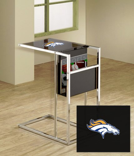 Under Logo Glass Team (New Black & Chrome Finish Slide-Under TV Tray with Glass Shelf, Magazine Rack & Your Choice of NFL Team Logo!)