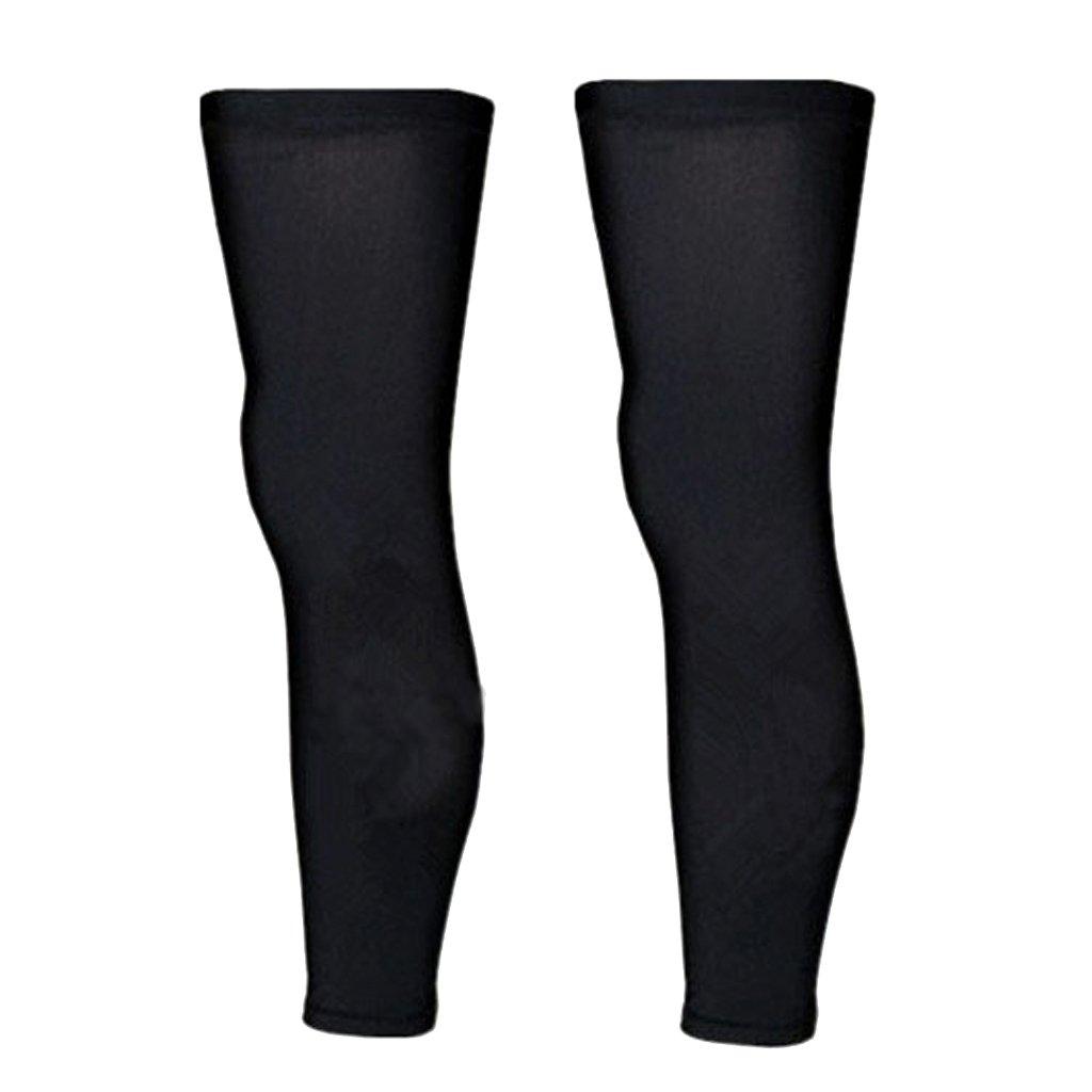 1 Pair Sport Football Basketball Cycling Strech Leg Knee Long Sleeve--Black (M)