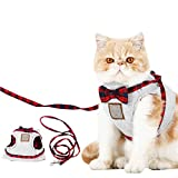 Cat Puppy Leash,Ezeso Adjustable Body Harness Pet Cat Leash For Cat Walking ,Running (S, Gray)