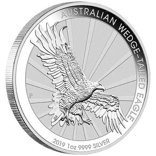 2019 AU Australian Wedge Tail Eagle - 1 oz pure Silver Coin - 3rd in this Predator Series $5 Brilliant Uncirculated CA ()