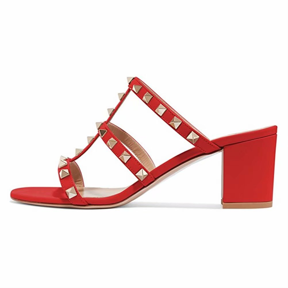 Chris-T Chunky Heels for Womens Studded Slipper Low Block Heel Sandals Open Toe Slide Studs Dress Pumps Sandals 5-14 US B07DH77D8N 10 M US|Red 5cm