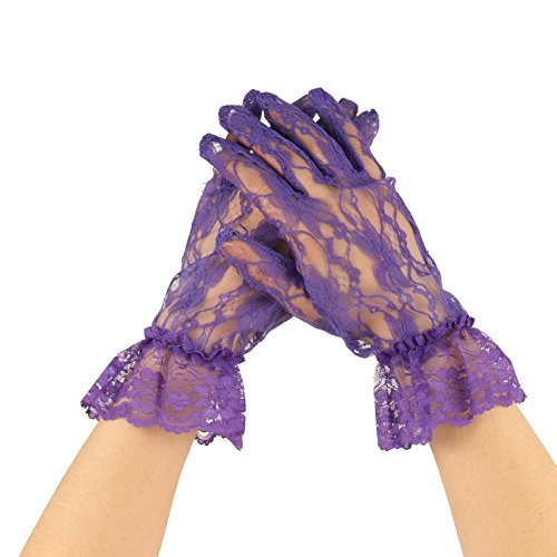 (Fancy Floral Sheer Lace Tea Party Vintage Style Ruffle Wrist Dressy Gloves Purple)