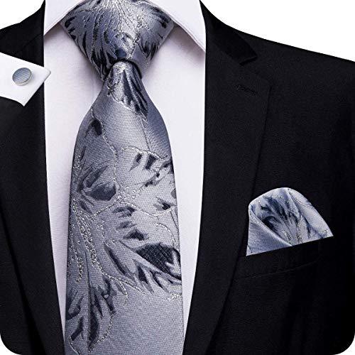 Hi-Tie Men Grey Floral Tie Pocket Square Cufflinks Necktie ()