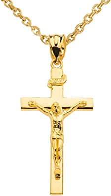 Amazon Com Solid 10k Gold Linear Cross Inri Crucifix Pendant Necklace 16 Jewelry