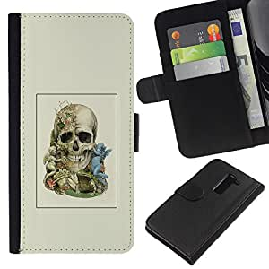NEECELL GIFT forCITY // Billetera de cuero Caso Cubierta de protección Carcasa / Leather Wallet Case for LG G2 D800 // Dos cráneo Faced