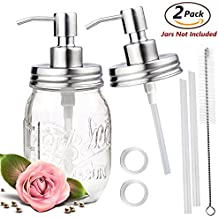 ONME Soap Dispenser Lids - Stainless Steel Mason Jar Soap Dispenser Bathroom Accessories 2 Pack Set - (Jar Not Included) (silver)