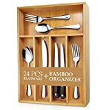 Teivio 20-Piece Silverware Set, Flatware Set Mirror Polished, Dishwasher Safe Service for 4, Include Fork/Spoon with 4 Steak Knife with Bamboo 5-Compartment Silverware Drawer Organizer Box, Silver