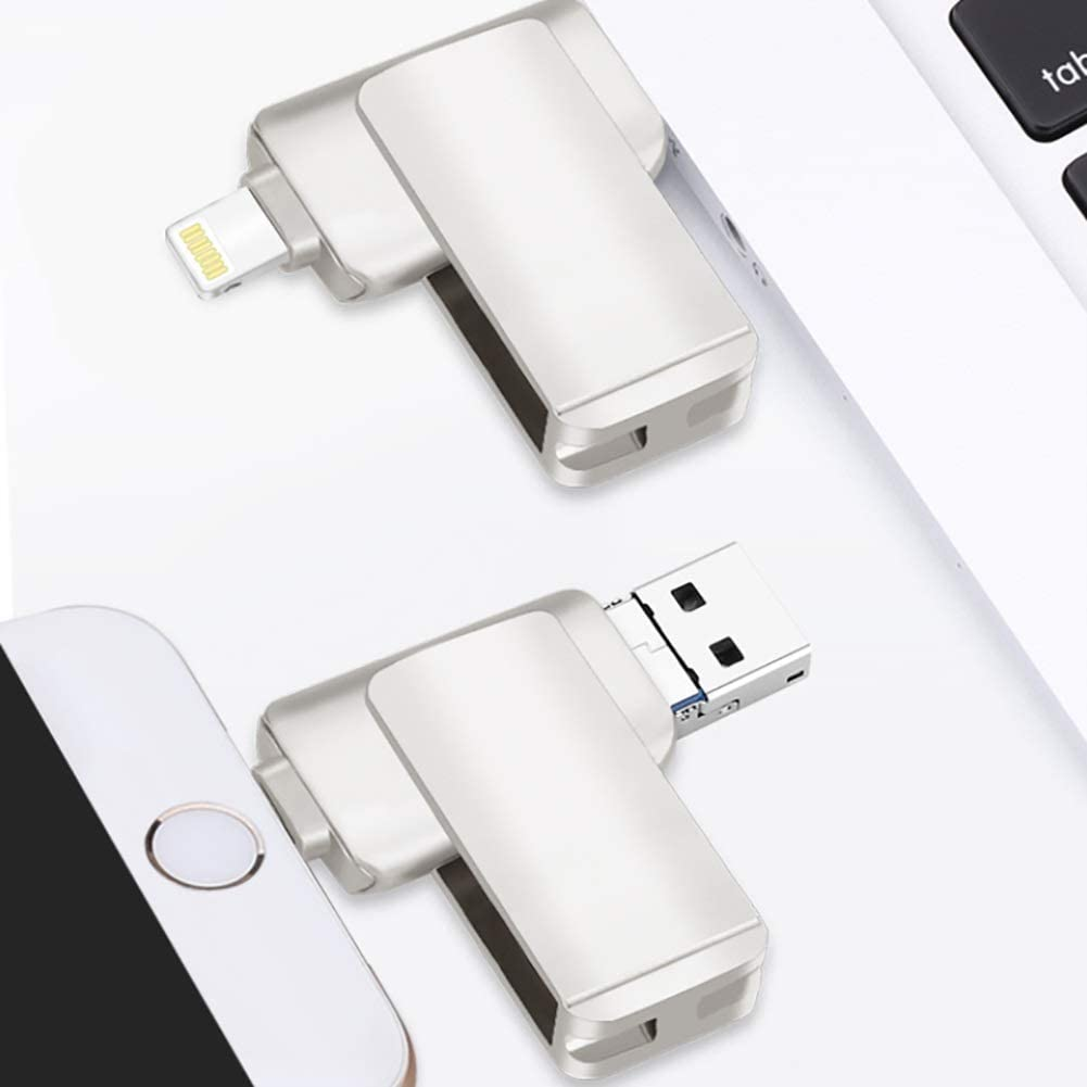 USB Flash Drive 3.0 Micro USB Memory Stick Flash Drives,3 in 1 Metal Thumb Drive Compatible Phone and Computer,Silver,256G