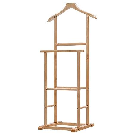 Traje hombres doble funcional estante percha soporte madera ...