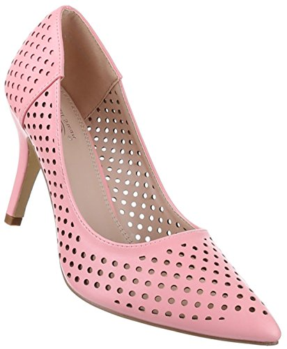 Frauen High Heels mit 9 cm Stiletto-Absatz in Beige und Größe 40 Perforierte Optik Z6VwgVKnjb