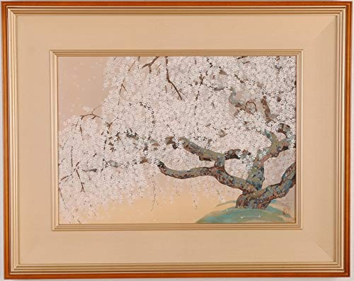 中島千波 「夢殿の枝垂櫻(2)」 桜 花 絵画 和風 日本画 木版画 額付き