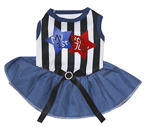 Petitebella Puppy Clothes Dress My 1st 4th July Black White Stripe Top Navy Tutu (Medium) (State Tee Glitter)