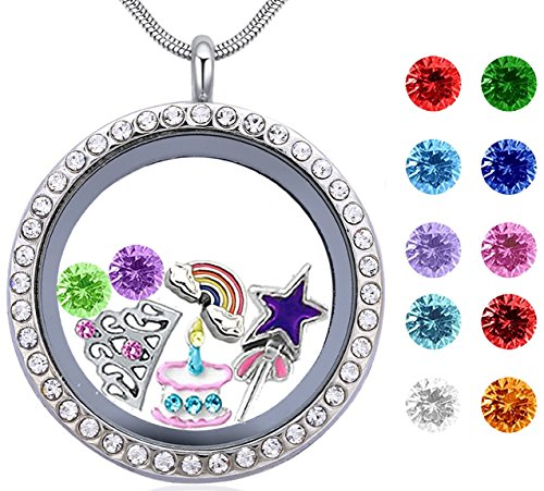 Girl's Happy Birthday Gift & Teen Girl Gift, 30mm Round Floating Living Memory Charm Lockets Necklace