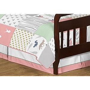 Sweet Jojo Designs 5-Piece Coral, Mint and Grey Woodsy Deer Girls Toddler Bedding Comforter Sheet Set