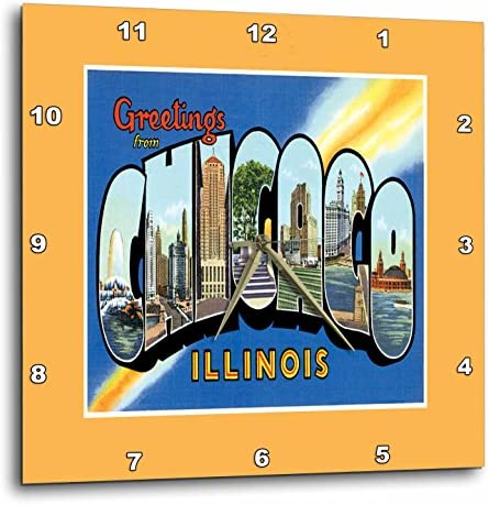 3dRose Greetings from Chicago Scenic Colorful Postcard Reproduction Wall Clock, 13 by 13