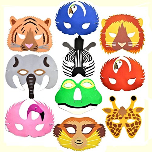 10 Rainforest Safari Jungle Animal Foam Masks Made By Blue Frog Toys (Blue Animals Safari)