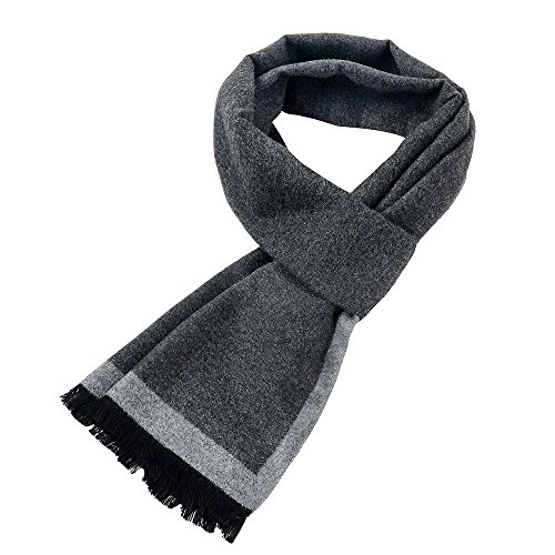 Mens Soft Scarf For Autumn And Winter,Simple And Elegant Long Thick Plush Scarf (White-gray) ()