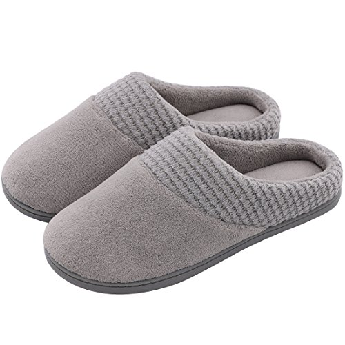 Kansas Robe - Women's Comfort Terry Plush Memory Foam Slippers Slip-Resistant Indoor & Outdoor House Shoes w/Classic Fabric Knit Collar (Large / 9-10 B(M) US, Gray)