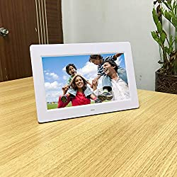 LoMe 10.1-inch HD Digital Photo Frame IPS LCD Screen WiFi Network Advertising Machine with Auto-Rotate/Calendar/Clock Function, Mp3/Photo/Video Player with Remote Control,White