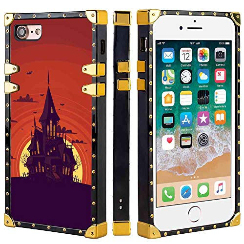 Haunted Manor Square Corner Cell Phone Case Compatible for iPhone 8 (2017) and iPhone 7 (2016) [4.7inch] -