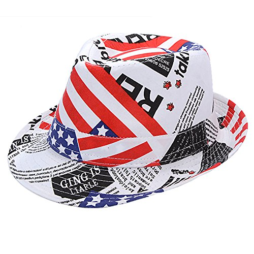 Funkeet Kids USA Flag Fedora Hats Short Brim Trilby Independence Day Party Fedoras Caps Little Boys 2-7 Years Old (USA Flag - Hat Day Independence