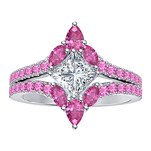 RUDRAFASHION .925 Sterling Silver Antique Design Princess Cut White Diamond & Pink Sapphire 14K White Gold Plated Split Shank Wedding Ring for Women
