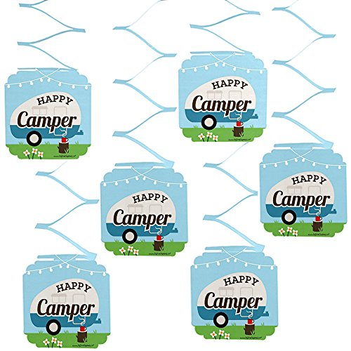 Big Dot of Happiness Happy Camper - Camping Baby Shower or Birthday Party Hanging Decorations - 6 Count