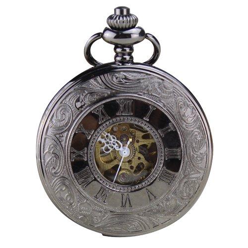 Orkina Vintage Gunmetal Color Hand-Wind Mechanical Tourbillon Transparent Dial Pocket Watch