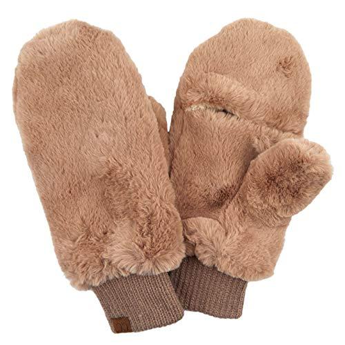 CC Exclusives Women Thick Knit Faux Fur Sherpa Fleece Lined Warm Winter Gloves Mittens (Faux Fur-Mocha)
