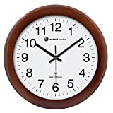 """Ambient Weather RC-1250CH 12.5"""" Atomic Radio Controlled Wall Clock, Cherry Finish"""