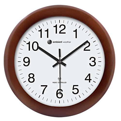 "Ambient Weather RC-1250CH 12.5"" Atomic Radio Controlled Wall Clock, Cherry Finish"