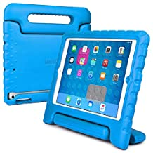 iPad Mini 3 2 1 kids case, COOPER DYNAMO Rugged Heavy Duty Children's Boys Girls Tough Rubber Drop Proof Protective Carry Case Cover + Handle, Stand & Screen Protector for Apple iPad Mini Blue