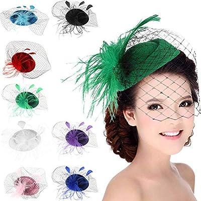 ACTLATI Fascinators Hat for Women Mesh Ribbons Feathers Hair Clip Kentucky Derby Headband Tea Party Wedding Headwear