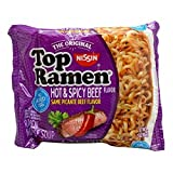 Cheap NISSIN TOP RAMEN HOT AND SPICY BEEF FLAVOR SAME PICANTE BEEF FLAVOR 3 oz Each ( 24 in a Pack )