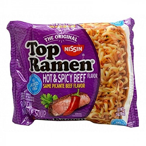 Ramen Nissin Beef Top - NISSIN TOP RAMEN HOT AND SPICY BEEF FLAVOR SAME PICANTE BEEF FLAVOR 3 oz Each ( 24 in a Pack )