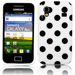 Polka Gel Case Cover Shell For Samsung Galaxy Ace S5830 / Black Polka Dot White