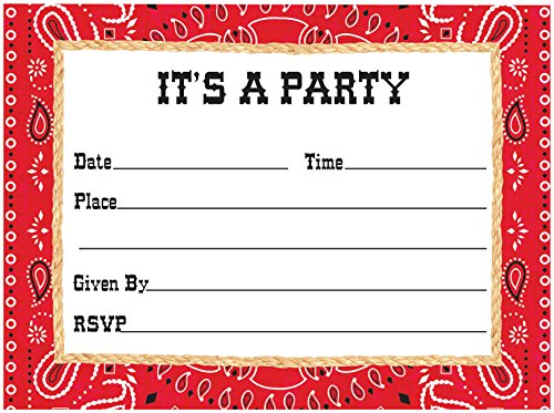 Creative Converting 8 Count Bandanarama Postcard Party Invitations, (Western Theme Invitations)