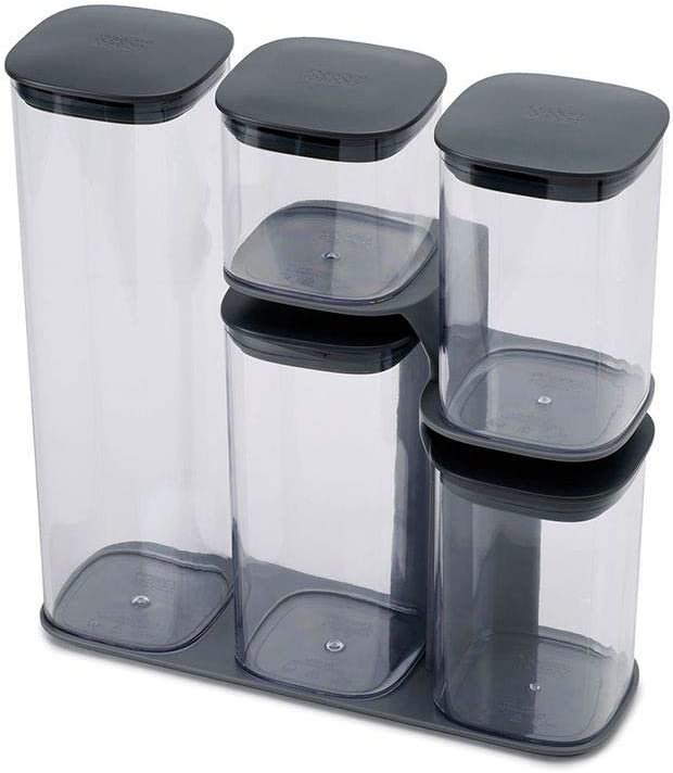 Joseph Joseph Podium Dry Food Storage Container Set with Stand, 5-piece, Gray