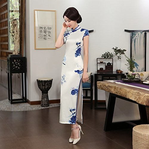 ACVIP Women Cap Sleeve Chinese Paint Floral Maxi Qipao Side Split Cheongsam (China S/Bust:32.3'') by ACVIP (Image #7)