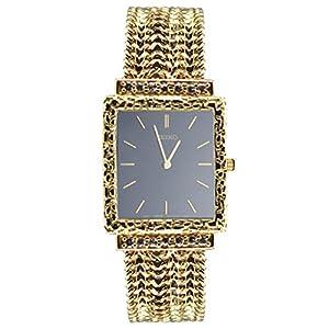 14k Yellow Gold Men's Link Watch (Black Watch Face)