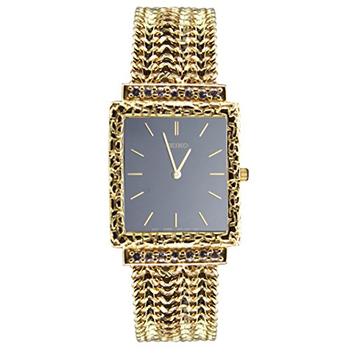 14k Yellow Gold Men's Link Watch (Black Watch Face) 14k Yellow Gold Wrist Watch
