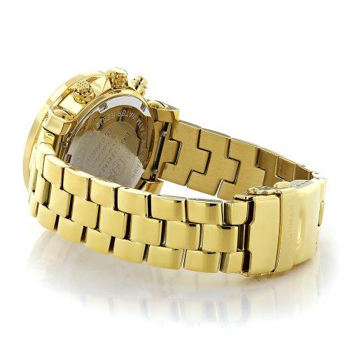 Ladies Diamond Watch 0.3ctw of Diamonds by Luxurman Pink MOP Yellow Gold Plated