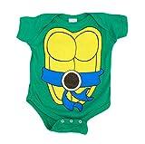 Teenage Mutant Ninja Turtles Green Leonardo Costume Infant Baby Onesie Romper (Blue Belt) (6 Months)