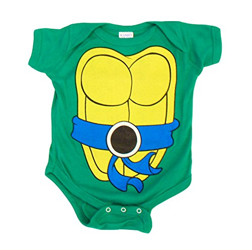 Teenage Mutant Ninja Turtles Green Leonardo Costume Infant Baby Onesie Romper (Blue Belt) (18 Months)]()