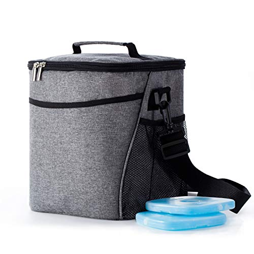 Insulated Lunch Box Lunch Bag for Men Women Adults, 9L Thermal Bento Bag,Vtopmart Upgraded Reusable Leakproof Large Capacity Cooler Bag for School/Work/Picnic/Travel with 2 Ice Packs