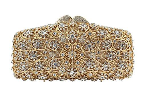 Yilongsheng Las mujeres que deslumbra los bolsos de embrague con piedras de cristal anidada Redondeo oro