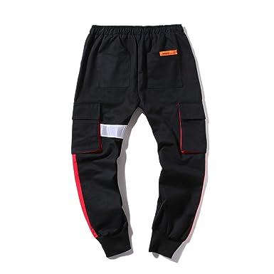 Pantalones Hombre Verano Costura Casual Multibolsillo Hip Hop ...