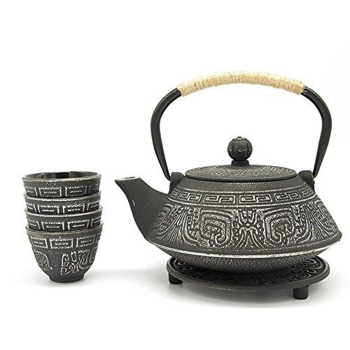 ISINO Teapot and Cup Set , Metal Teatop Kettle , Asian Tea Set